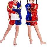 Fille Déguiser Harley Quinn 3 en 1 Set - Cosplay 3 Pièces Veste + T-Shirt + Short Produits Halloween Costume Déguisement pour Enfants Toussaint