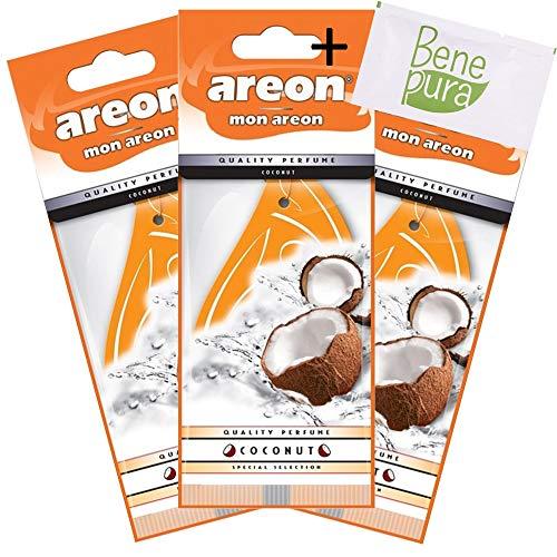 AREON Mon Cocco Deodorante per Auto Appeso Orange Drop-Van, Camion, Camper-casa, Ufficio, Bagno, Palestra-Armadio, cassetti-Set di 3