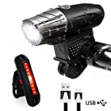Karrong Bike Lights, LED Bike Light Set USB Rechargeable,Waterproof Front Bicycle Lights Headlight