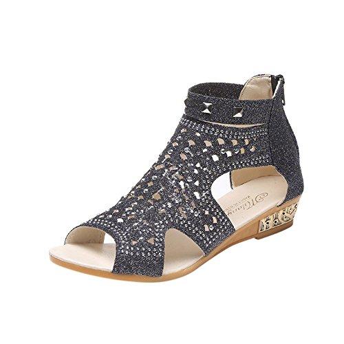 VJGOAL Damen Sandalen, Damen Frühling Sommer Keil Sandalen Mode Fisch Mund Hohl Roma Reißverschluss Paert Schuhe Frau Geschenk (39 EU, Schwarz)