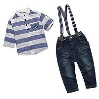 Gazechimp Conjunto Trajes Talla 3 Piezas Camisa De Manga Larga + Pantalones + Tirantes Para Niños Bebés - Como se muestra la foto, tamaño 3