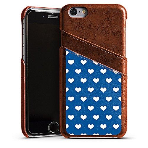 Apple iPhone 5s Housse Étui Protection Coque Petit c½ur Polka Motif Étui en cuir marron