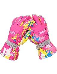 Butterme Gants de ski en plein air d'hiver snowboard vélo complet gants de doigts chauds gants de ski de neige imperméable pour enfants Femmes Hommes