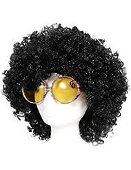 Alsino 70er 80er Jahre Disco Party Kostüm Verkleidung mit Afro Perücke Riesenbrille Hippie-Set Hippiebrille Karneval Fasching KV-25
