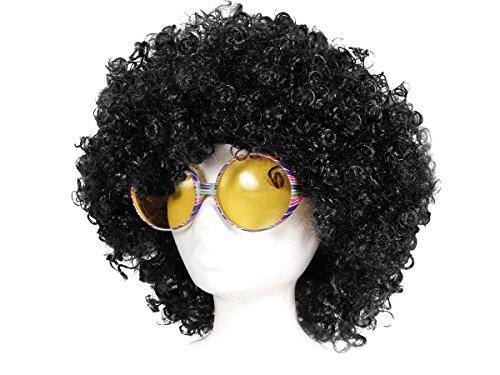 Outfits Jahre Disco 70er (Afro Perücke mit Partybrille 70er 80er Outfit KV-25 Kostümierung Accessoires Partyperücke Karneval Verkleidung Karnevals-Outfit Damen Herren mit Brille Riesenbrille Disco)