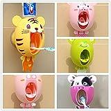 upxiang bebé niños creativos dibujos animados pasta de dientes automático dispensador, soporte de pared soporte soporte cepillo de dientes pasta de dientes dispensador de pasta de dientes exprimidor de baño sets