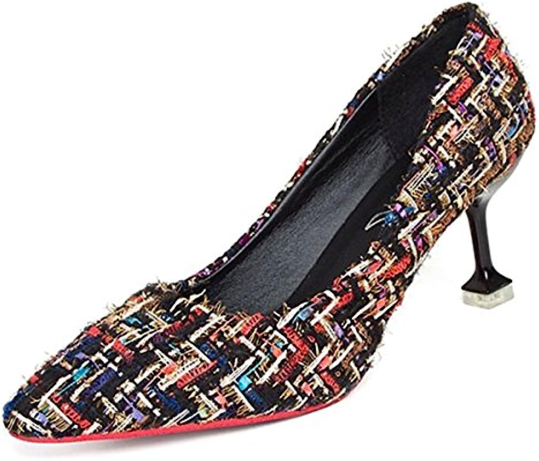 DIMAOL Damenschuhe PU Feder Komfort Heels Stiletto Heel Schuhe für Casual Schwarz/Weiß Beige Schwarz