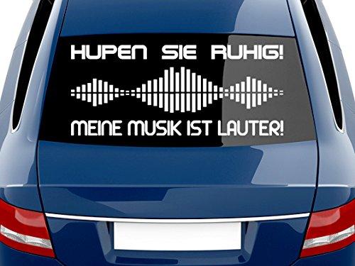 GRAZDesign 740100_70x30_010G Heckscheiben Auto Aufkleber Autoaufkleber Tuning Spruch Musik ist lauter (70x30cm//010 weiß)