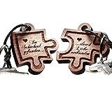 2 teiliges Puzzle aus Echtholz - Schlüsselanhänger mit Gravur als romantische Geschenkidee - vorgraviert mit Text: Im Schicksal gefunden ... durch Liebe verbunden