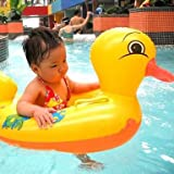 G Aaj Jio Baby's PVC Duck Swimming Float Tube Ring Inflatable with Leg Space and Horn (Yellow)