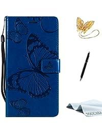 TOUCASA S5 Handyhülle,S5 Hülle, Brieftasche Flip PU Leder ledercaseHülle Kartenfächer [3D Butterfly] [3D Schmetterling] Embossed Technology fürSamsung S5-(Blau)+StylusPen