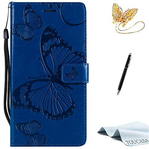 TOUCASA Galaxy S7 Edge Handyhülle,Galaxy S7 Edge Hülle, Brieftasche Flip PU Leder ledercase Magnet Leder Hülle 3D Schmetterling fürSamsung S7 Edge-(Blau) -
