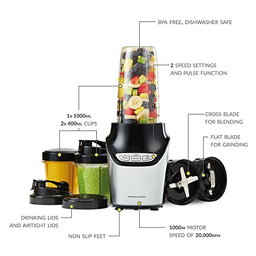 Andrew James Nutri-fit Blender and Smoothie Maker, 1000 Watts, 10 Piece Set