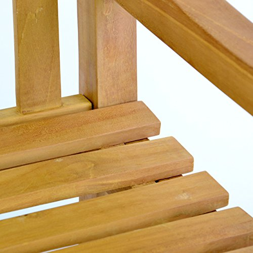 DIVERO 3-Sitzer Bank Holzbank Gartenbank Sitzbank 150 cm – zertifiziertes Teak-Holz behandelt hochwertig massiv – reine Handarbeit – wetterfest (Teak behandelt) - 3