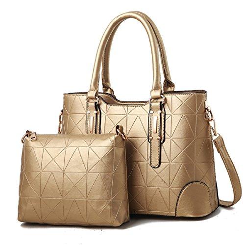 ZPFME Womens Umhängetaschen Sets Mode Umhängetasche Elegant Shopper Leder Party Retro Damen Tasche,Gold-A -