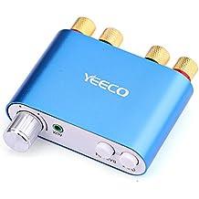 Yeeco De alta Fidelidad Mini Bluetooth Amplificador 50W + 50W DC 9-24V Doble Canal Inalámbrico Bluetooth Estéreo Audio Receptor Poder Amperio Ampli Tablero con EUR-tipo Fuente de Alimentación Adaptador para Casa Sistema de Audio Computadora Ordenador Portátil (Azul)