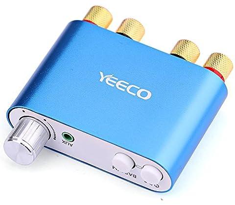 Yeeco Hifi Mini Bluetooth Amplificateur 50W + 50W DC 9-24 V Double Sans Fil Bluetooth Canaux Stéréo Récepteur Audio Power Amp Board Ampli Avec EUR Type Adaptateur d'alimentation pour Home Son Système Audio Ordinateur Portable