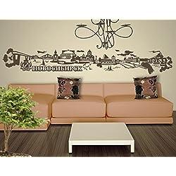 Wandtattoo No.JR40 Novosibirsk russisch Skyline WandSticker WandTattoo Europa, Farbe:Creme;Größe:55cm x 358cm