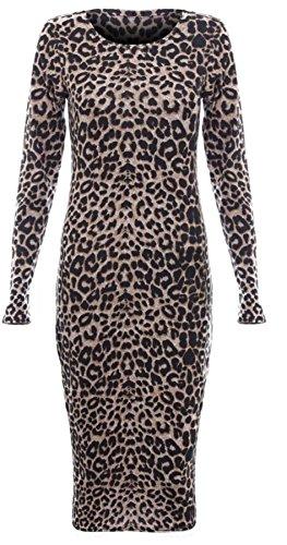 donne janisramone animale vestito bodycon midi manica lunga stampa azteca Leopard Brown