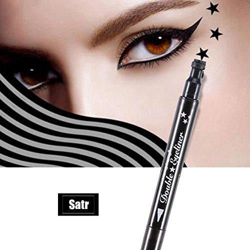 Eyeliner da liquido, impermeabile e duraturo Double Head Eyeline Pencil Star Moon Fiori a forma di cuore strumento di decorazione di trucco (A (stella))