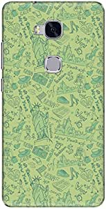 The Racoon Lean printed designer hard back mobile phone case cover for Huawei Honor 5x. (Green Big)