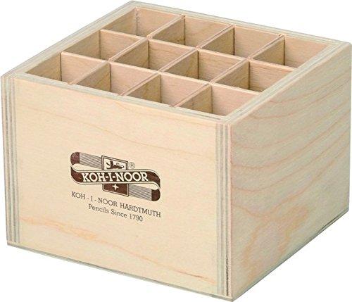 Koh-I-Noor Caja almacenamiento cuadrada madera bolígrafos/lápices