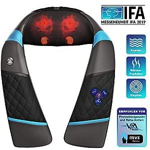 Messe-Neuheit 3in1 Massagegerät mit Akku für Schulter Rücken & Nacken, Shiatsu 4D + Klopfen, Wellness Ganzkörper Nackenmassagegerät & Wärme, RXM250 Schmerztherapie, Entspannung im Büro & Zuhause