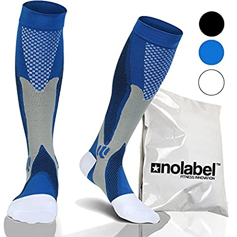 Blue Compression Socks For Men & Women - Graduated Knee High Medical Grade Wide Calf Cool Sports DVT Compressions Sock Best Fit Athletic Workout Sports Running Socks Available Small Medium Large Black Blue White (Blue, UK Size