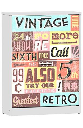 Zapatero 2 baldas Suarez, diseño Vintage, 1 unidad, color blanco, dimensiones 82 x 60 x 24,2 cm (H329-TMV)