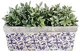 Esschert Design 2 Stück Balkonkasten, Blumenkasten aus Keramik in blau-weiß, ca. 40 cm x 16 cm x 15 cm