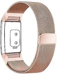 FitBit Charge 2 Bandes(17-20,6 cm),PUGO TOP acier inoxydable Milanaise bande de charge pour bracelet Fitbit Charge 2-Champagne or(Non compris Tracker)