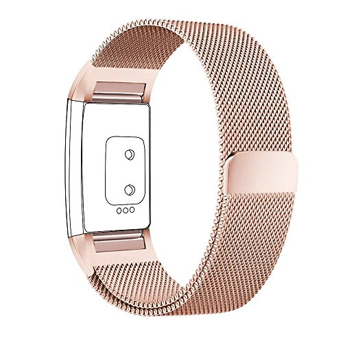 Fitbit Charge 2 Watch Strap,PUGO TOP Milanaise Edelstahl Armbanduhren Watch Band Armband for Fitbit Charge 2 (Klein-Rose Gold)