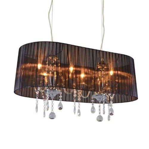 QAZQA Klassisch/Antik/Landhaus/Vintage/Rustikal/Modern Klassischer Kronleuchter/Chandelier Chrom mit schwarzem Schirm 80 cm - Ann-Kathrin/Innenbeleuchtung/Wohnzimmerlampe/Küche Glas/K