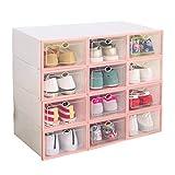 12x plastica scarpe scatole box organizer, rosa