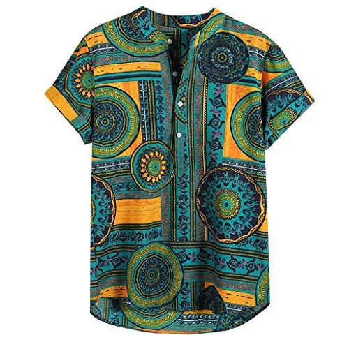 Shirt Herren,ESAILQ Herren Persönlichkeit Kurzarm Shirts Casual Solid Color Pullover Shirt