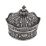Cassa a forma di corona di gioielli in lega di zinco intagliata a forma di fiore di rosa a forma di corona di orecchini, regali di design<br/>