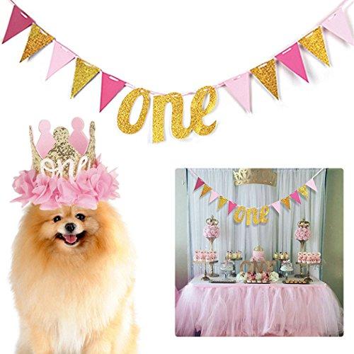 r Triangle Ein Brief hängende Banner Bunting Banner mit Hund Hut für Pet Dogs Cats Geburtstag ()