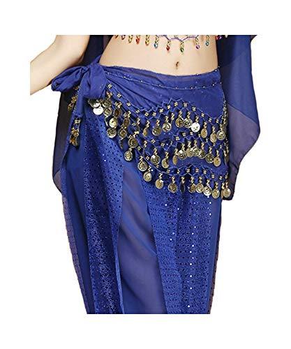 Grouptap Bauchtanz wulstige Hüfttuch Gürtel mit Goldmünzen für die Mädchen der Frauen arabischen ägyptischen Tanz (Blau) (One Size)