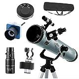 Telescopio astronómico 525 aumentos catadióptrico monocular portátil,telescopio ajustable 360 ° es fácil montar desmontar.Telescopio montañismo para niños adultos (juego completo de accesorios)