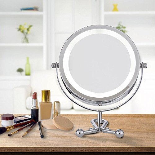 ALHAKIN 1/5X Espejo De La Tabla Cosmética Con La Luz 6 Pulgadas Espejo De Tocador LED