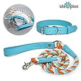 Ida Plus – Hunde-Leine und Halsband XL und gedrehter Kordel aus Leder mit silbernem Haken für große und Kleine Hunde (1,5 m und 48 – 56 cm)