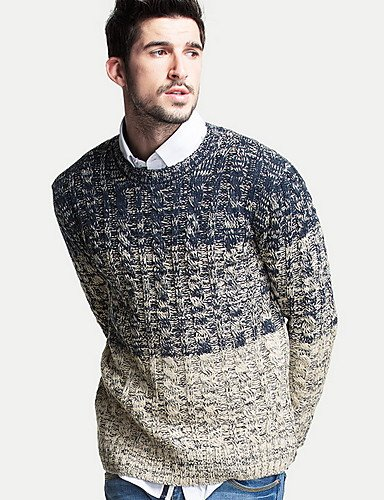 XX&GX Pullover Uomo Casual Tinta unita Standard Manica lunga Cotone gray