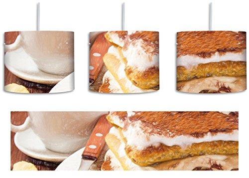 Leckeres Dessert mit Kaffee Bunstift Effekt inkl. Lampenfassung E27, Lampe mit Motivdruck, tolle Deckenlampe, Hängelampe, Pendelleuchte - Durchmesser 30cm - Dekoration mit Licht ideal für Wohnzimmer, Kinderzimmer, Schlafzimmer