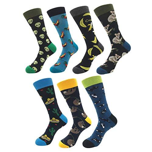 YoungSoul 7 pares calcetines estampados hombre mujer