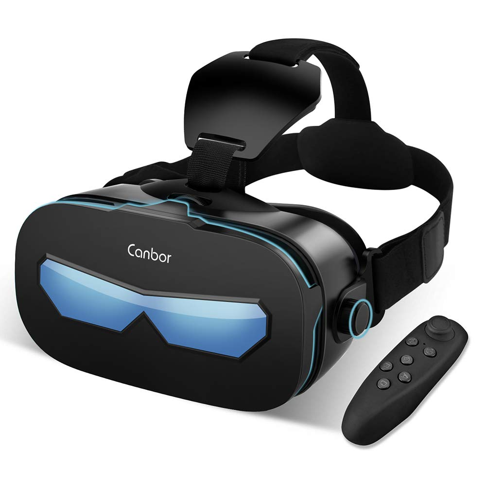 Canbor VR Casque avec Télécommande Casque de réalité virtuelle 3D Lunettes VR Lunettes pour Films et Jeux 3D Compatible avec Apple iPhone 4 à 6,3 Pouces Samsung Sony Plus Smartphones