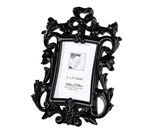 Lillian Rose Scroll Frame, 4 by 6-Inch, Black - Rose Scroll