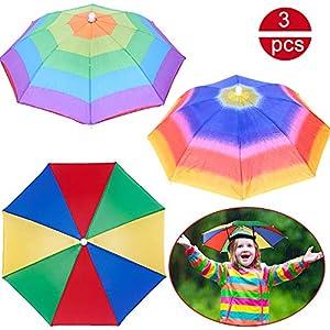 BESLIME Regenschirmhut – Faltbarer Sonnenschirm Regenschirm Hut,Mini Multi Colour Regenschirmhut für Outdoor-Aktivitäten…