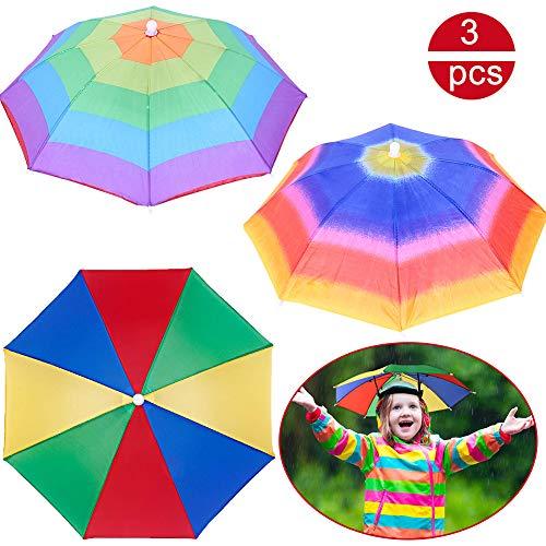 BESLIME Regenschirmhut - Faltbarer Sonnenschirm Regenschirm Hut,Mini Multi Colour Regenschirmhut für Outdoor-Aktivitäten,Golf,Angeln,Camping,Erwachsener,Kind,3pcs