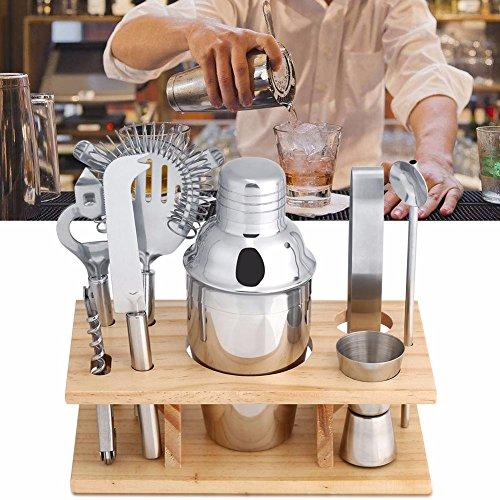 Mini Cocktail Bar Set Cocktail Shakers Edelstahl Barkeeper Zubehör mit 9 pcs Martini Shaker ( 350ML ), Messer, Sieb, Doppel Jigger, Stab Löffel, Eiszange, Korkenzieher, Sieb Und Rack aus Holz