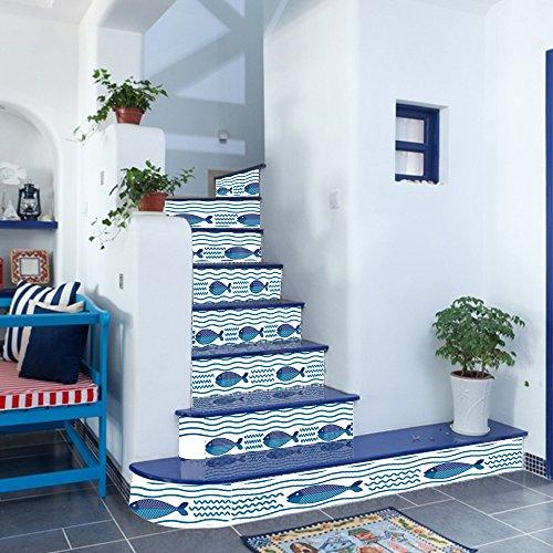 Preisvergleich Produktbild ALLDOLWEGE Stilvolle und innovative Treppenlift Meeresgrund Fisch Familie hotel Treppen eingerichtet., 100 * 18 cm * 6 Stk.